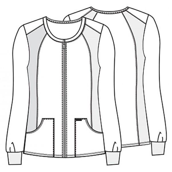 cherokee flexibles zip front knit panel warm-up jacket